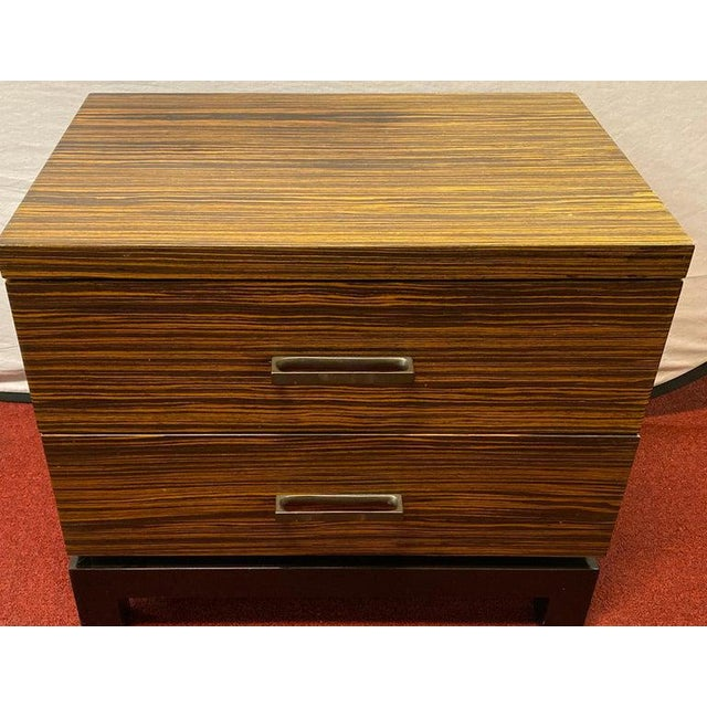 Mid-Century Modern Hollywood Regency Style Zebra Wood End Tables / Nightstands or Chests, a Pair For Sale - Image 3 of 11