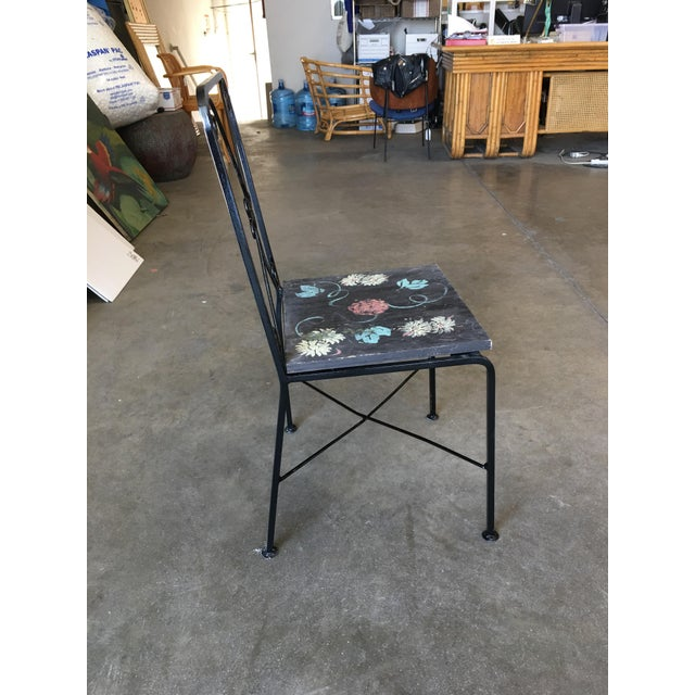 Black Scrolling Iron Patio/Outdoor Lounge Chair W/ Pad Seat - Set of 4 For Sale - Image 8 of 11