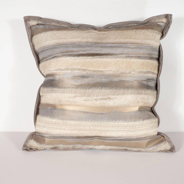 This sophisticated pair of hand-crafted modernist pillows were custom made by artisans in New York State. They feature...