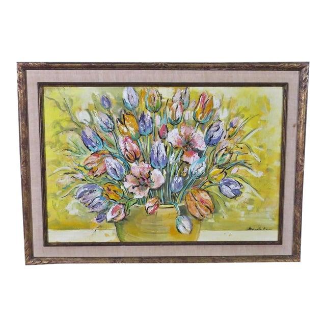 1960's Harriette Harra Modernist Still Life Oil Painting - Tulips For Sale