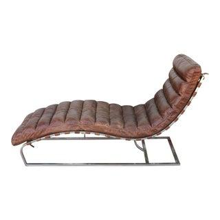 Restoration Hardware Leather Chaise Lounge
