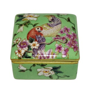 Contemporary Parrot and Flower Painting Square Porcelain Box - Jewelry Box Preview