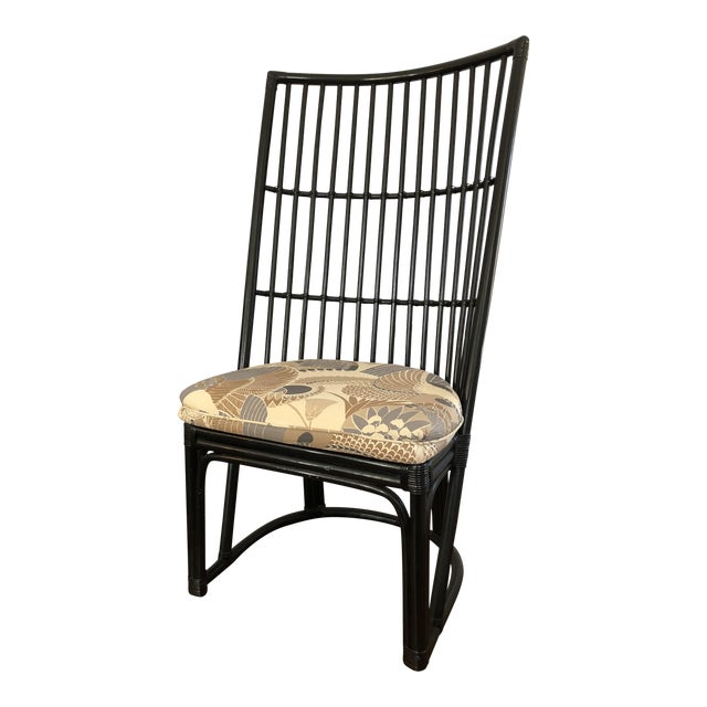 Mid-Century Hollywood Regency High Back Wicker Rattan Chair For Sale