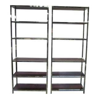 Mid Century Chrome Etageres With Rosewood Shelves - a Pair For Sale