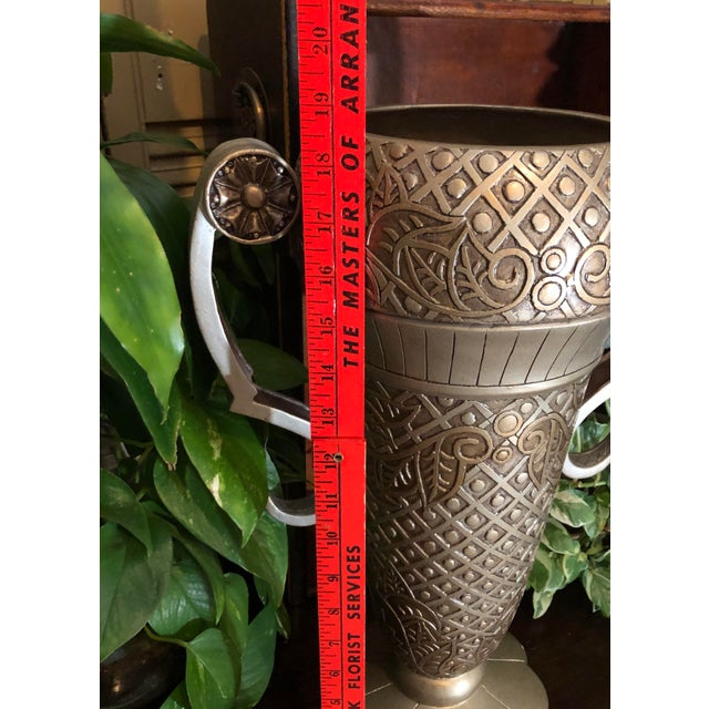 2000 - 2009 Contemporary Mediterranean Uttermost Grecian Urn / Vase With Handles For Sale - Image 5 of 11