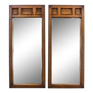 Pair of Mid Century Oak Mirrors, Mid-Century Modern Mirrors For Sale