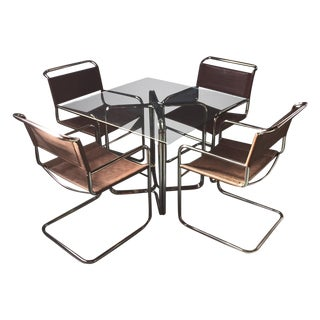 Crome & Glass Cantilever Dining Set