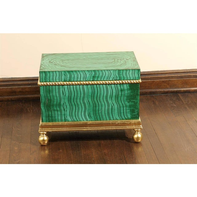 1960s Hollywood Regency Faux Malachite Box For Sale - Image 5 of 6