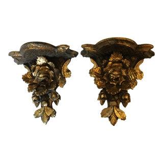 Early 20th Century Italian Venetian Floral Gilt Wall Brackets - a Pair For Sale
