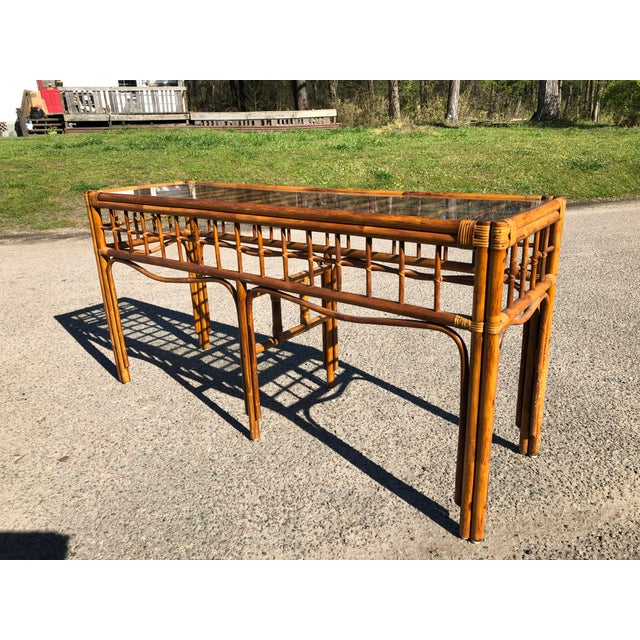 1970s Boho Chic Rattan Console For Sale - Image 9 of 9
