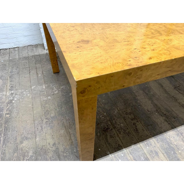 Wood Milo Baughman Burl Wood Dining Table With Two Leaves For Sale - Image 7 of 8