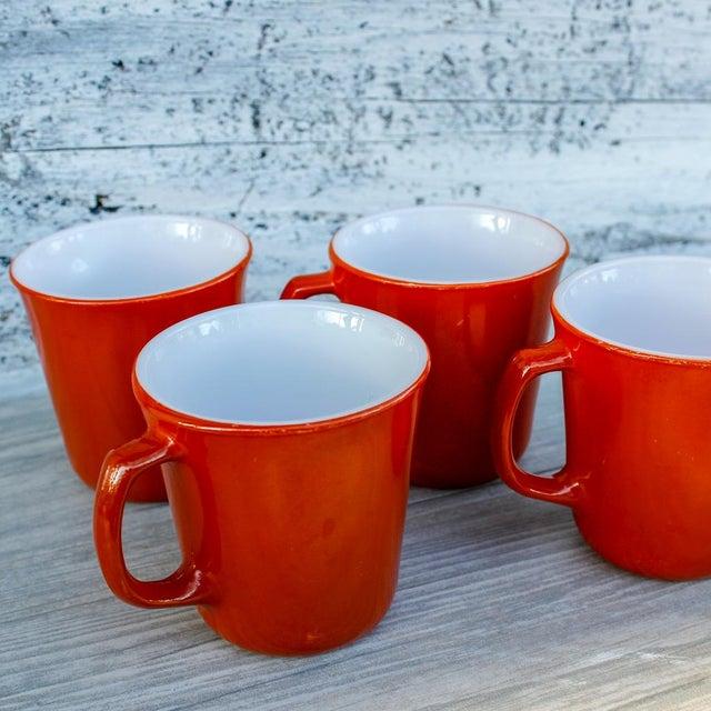 Corning Inc. Vintage Corningware Rust Orange Milk Glass Cups - Set of 4 For Sale - Image 4 of 9