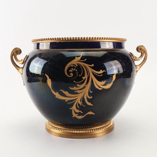 Late 19th Century 1800s Sevres-Style Cobalt Blue Porcelain & Gilded Bronze Jardiniere For Sale - Image 5 of 12