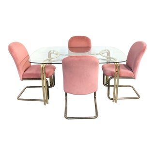 Hollywood Regency Brass & Glass Dining Set - 5 Pieces For Sale