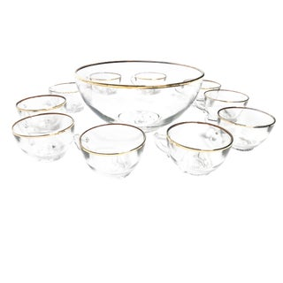 1960s Mid Century Modern Gold Rim Floral Glass Punch Bowl Set - 11 Pieeces For Sale
