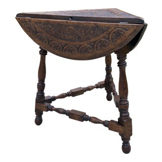 Antique English Carved Top Round Drop Leaf Table For Sale