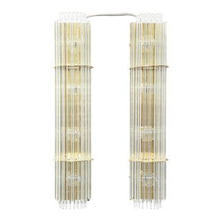 Pair of Vintage Lightolier Glass Rod Sconces For Sale