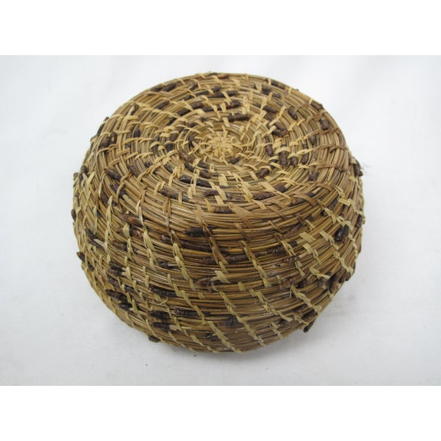 A very tactile and interesting to hold vintage basket made from pine needles with original ends exposed. Baskets like...