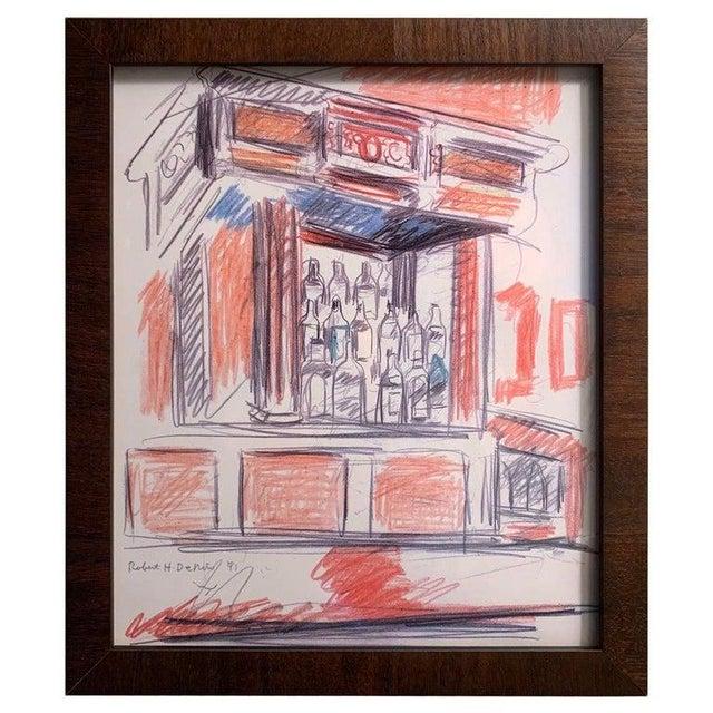 Wood Robert De Niro Sr. Iconic Maxwell Mahogany Bar Sketch For Sale - Image 7 of 7