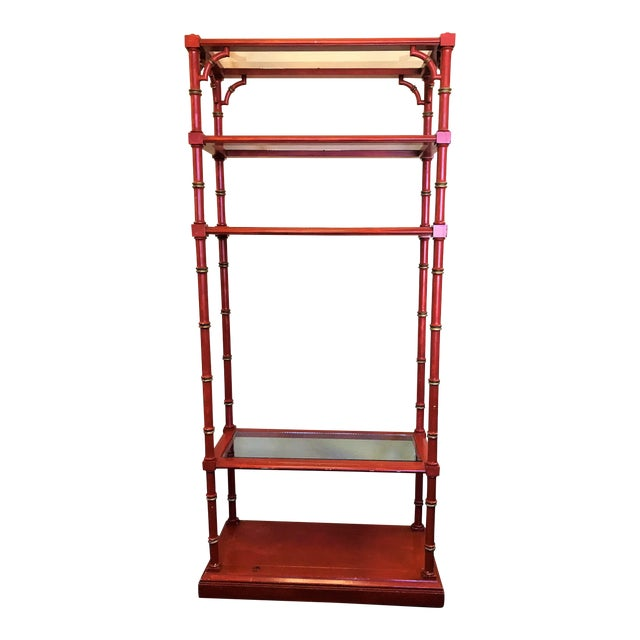 Chinese Chippendale Faux Bamboo and Glass Étagère For Sale