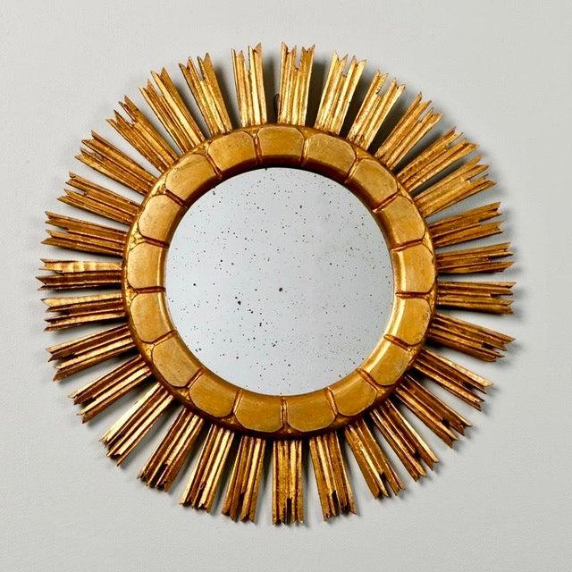 Wood Mid-Century Medium Size Giltwood Sunburst Mirror For Sale - Image 7 of 7