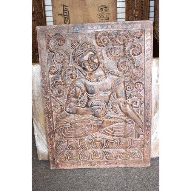 Asian 1990s Vintage Indian Sitting Buddha Wall Panel For Sale - Image 3 of 6