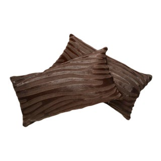 Pair of Laser Cut Zebra Pattern Cowhide Pillow For Sale