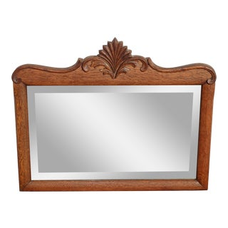 Antique French Country Oak Carved Wall Mantle Aged Mirror For Sale