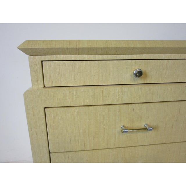 Linen Wrapped Chest or Dresser Chest For Sale - Image 9 of 10