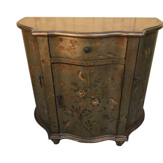 Victorian Hand Painted Floral Design Demilune Commode Cabinet For Sale