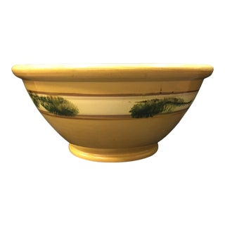 1800s Antique Mochaware Large Seaweed Motif Bowl For Sale