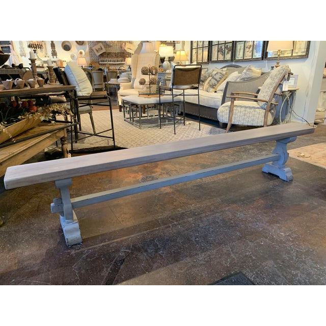 Vintage Mid Century French Blue-Gray Trestle Bench For Sale - Image 4 of 13