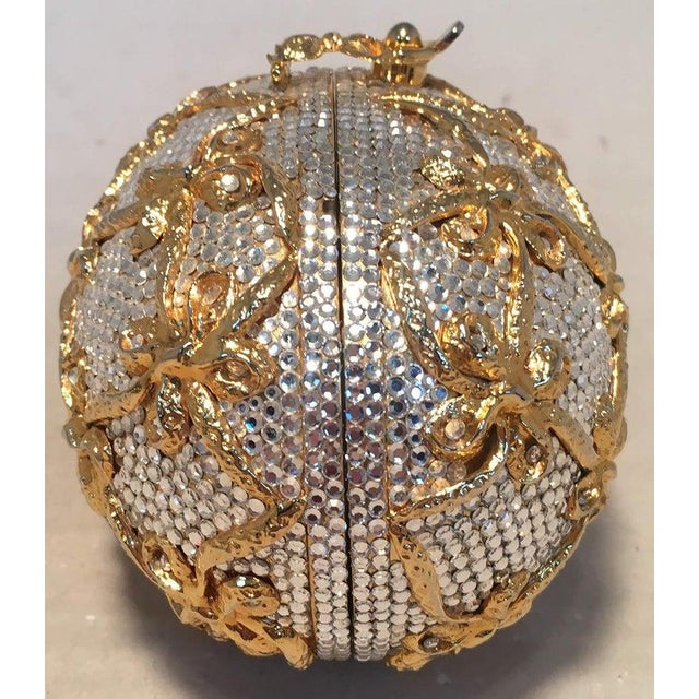 Metal Judith Leiber Swarovski Crystal Clear and Gold Faberge Egg Minaudiere For Sale - Image 7 of 10