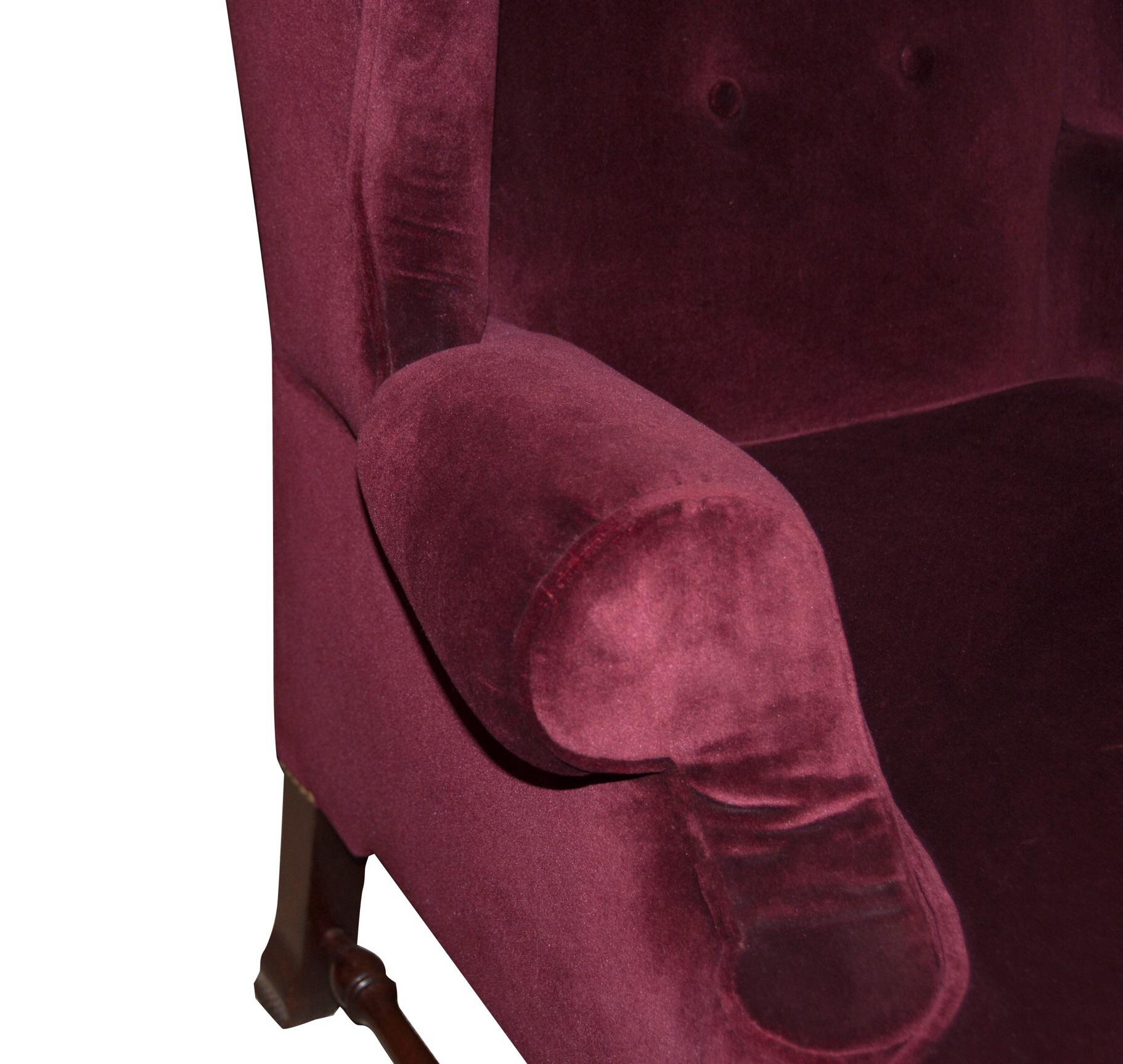 1940s Burgundy Velvet Circa 1940u0027s English Wingback Chairs   A Pair For  Sale   Image 5