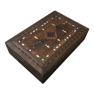 Vintage Middle Eastern Marquetry Jewelry Box For Sale