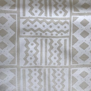 Quadrille Alan Campbell White Handprinted Fabric- 2 1/2 Yards For Sale