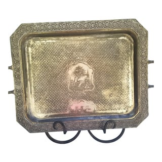 Victorian Aesthetic Movement Richley Detailed Silver Plated Tray For Sale