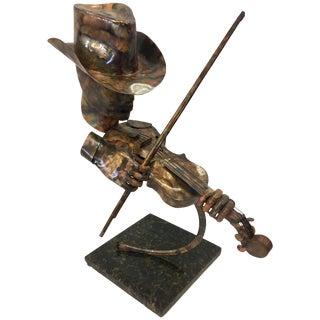 Signed Brutalist Style Metal Sculpture Joseph Q. Music Figure Marble Base For Sale