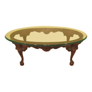 Chippendale Henredon Oval Glass Top Mahogany Coffee Table For Sale