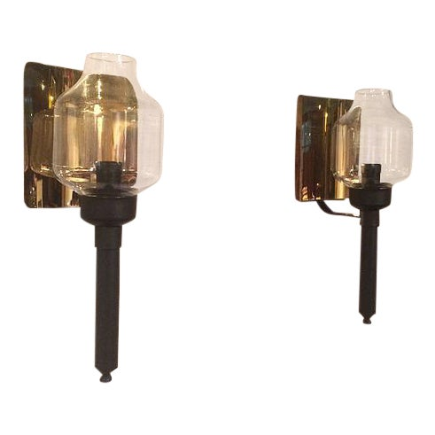 1950s Ystad Metall Brass Candle Sconces - a Pair For Sale