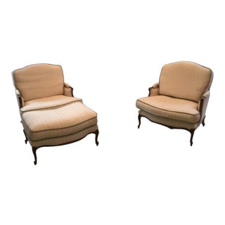 Century Bergere Chairs & Ottoman - Set of 3