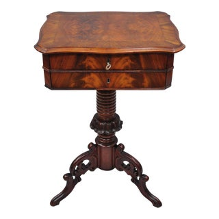 Antique Victorian Sewing Stand Side Table