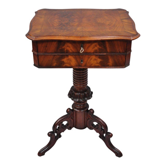 Antique Victorian Sewing Stand Side Table For Sale