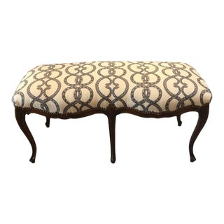 Italian Carved Walnut Upholstered Bench For Sale