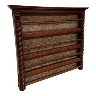 1870 French Hanging Plate Rack, Walnut, With Barley Twist Columns For Sale