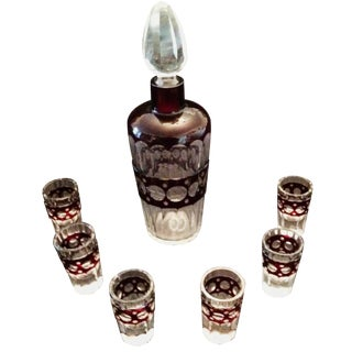 7-Piece Vintage Dark Ruby Decanter Set For Sale