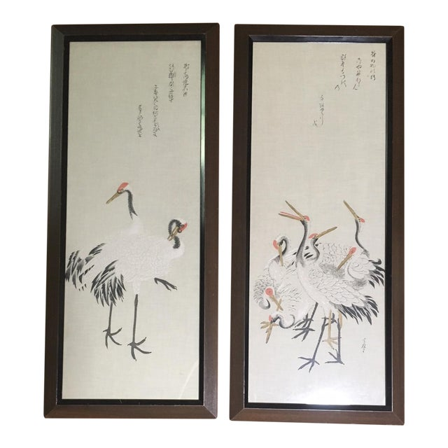 """Mid-Century Painted Silk Panels: """"Japanese Cranes"""" - a Pair For Sale"""