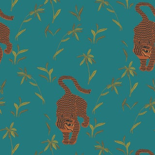 Mitchell Black Home Stalking Tiger Jewel Peel & Stick Wallpaper For Sale