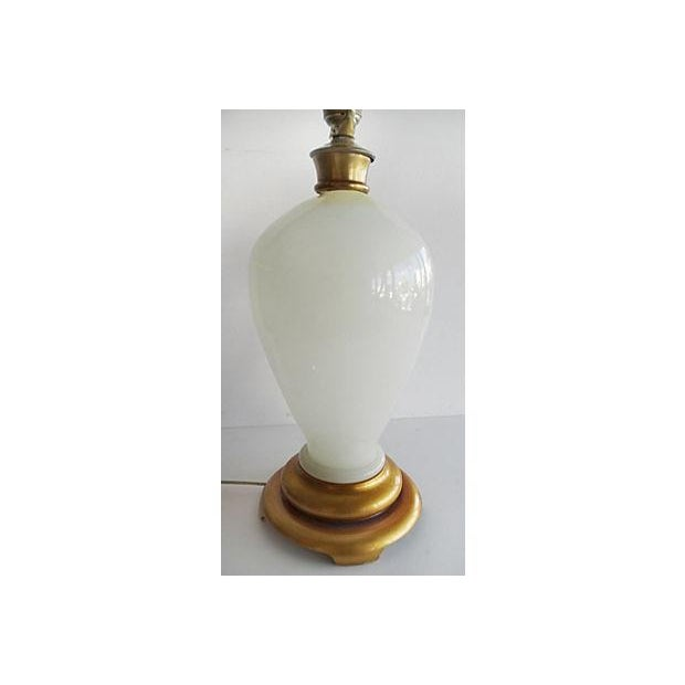 Opaline Glass Table Lamp With A Gilt-Wood Base For Sale - Image 4 of 7