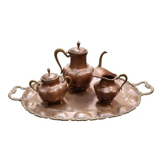 C. 1950 Mexican R. Martinez Copper/Brass Tea Service Set With Tray - 4 Pieces For Sale